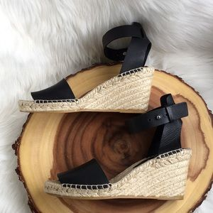 Vince leather ankle strap wedge espadrille sandals
